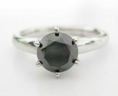 1.77 TCW Handmade Round Black Diamond Solitaire Engagement Ring Size 7 14kt