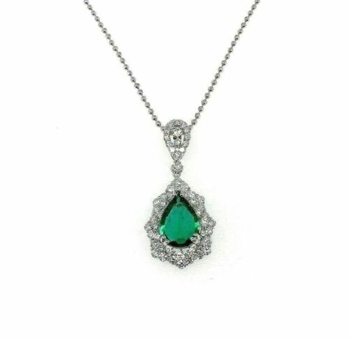 3.85 Carats t.w. Pear Emerald & Diamond Pendant 1.35 x 0.70 Inch 18K White Gold