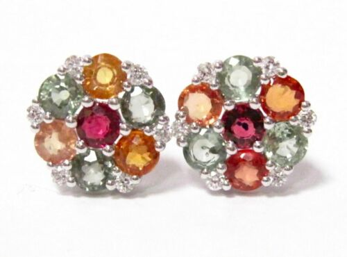 4.71 TCW Round Multi-Colored Sapphires & Diamond Accents Earrings 14k White Gold