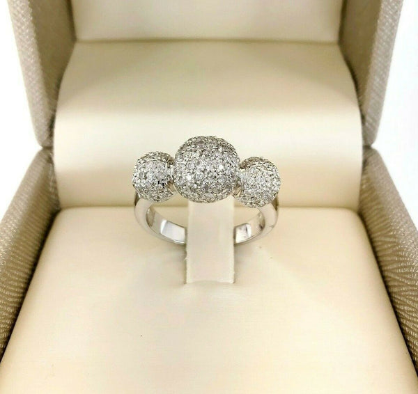 1.12 Carat t.w Puffed Ball Diamond Pave Wedding/Anniversary Ring 18K White Gold