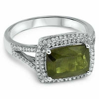 3.19 TCW Tourmaline with Diamond Accents 14K White Gold Ring Size 6.5