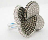 3.95 TCW Natural Double Hearts Champagne Diamond Ring Size 6.5 14k White Gold