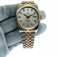 Rolex 36 MM Datejust Diamond Watch 18K Rose Gold Stainless Steel Ref 116231
