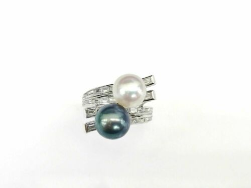 Green & White Round Pearl Ring with Crossed Baguette Diamonds in 18K White Gold