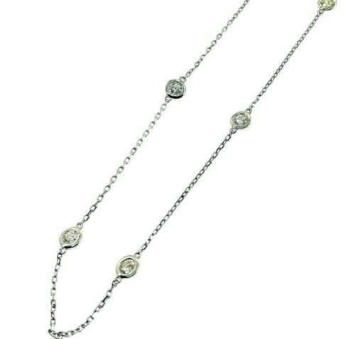 1.30 Carats t.w. Hand Assembled Diamond by The Yard Necklace Chain 14K Gold