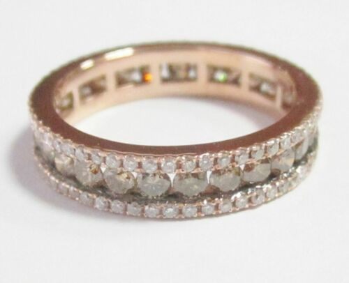 1.90Ct Natural Fancy Intense Brown Diamond Eternity Ring Size 7 14k Rose Gold