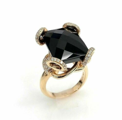 GUCCI Italian Made Horsebit Diamond and Onyx Ring 18K Rose Gold F VS1 Diamonds