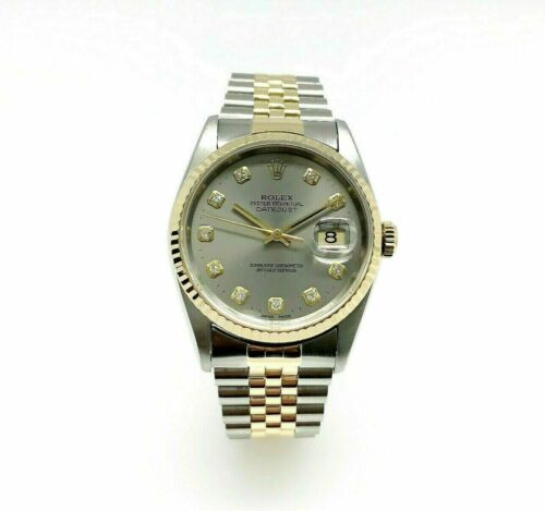 Rolex 36MM Datejust Watch 18K Yellow Gold Stainless Steel Ref 16233 Factory Dial
