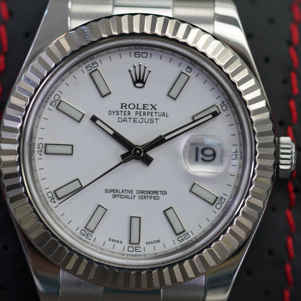 Rolex DateJust II Fluted Bezel and White Stick Dial 41 MM R#116334 with Card