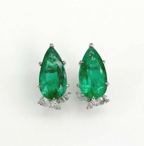 9.93 Carats t.w. GIA Graded Emerald and F VS Diamond Gala Platinum Earrings