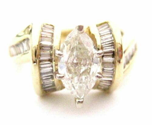 1.59 TCW Marquise & Baguette Diamonds Solitaire Ring Size 6.5 H SI3 14k Yel Gold