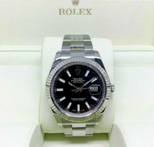 Rolex 41MM Datejust II Watch 18K Fluted Bezel Stainless Steel Ref 116334 w Box