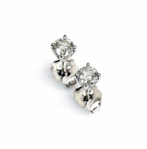 100% Natural Colorless & Shiny .40Ct Diamond Stud Earrings 14KWG 4 Prong Setting