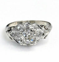 Antique Diamond Wedding Engagement Ring Circa 1950's 1.01 Carats t.w. 14K