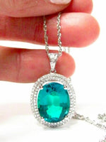 FINE OVAL DROP CHATHAM GEM DIAMOND PENDANT NECKLACE 14KT W/G