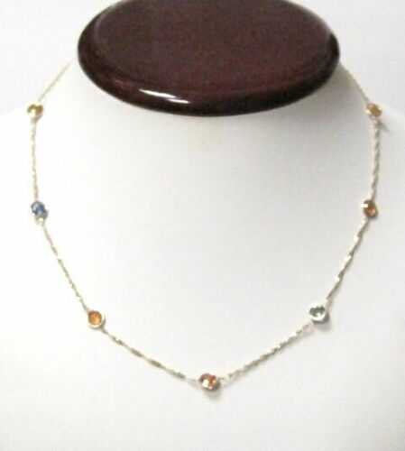 "20"" 8.15 TCW Multi-Color Round Natural Sapphire By The Yard Bezel Necklace 14k"
