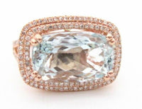 Light Blue Aquamarine & Diamond Accents Solitaire Ring Size 7 14k Rose Gold