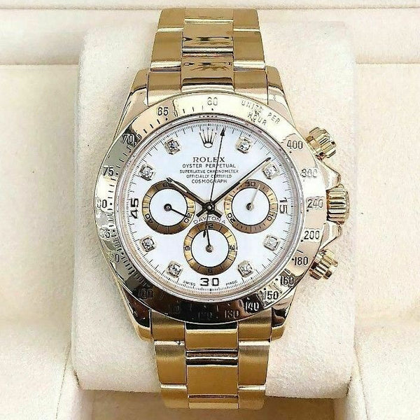 Rolex Daytona Ref 16528 A Serial Factory Diamond Dial ZENITH MOVEMENT 18K