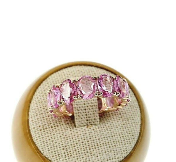 Fine 7.00 Carats t.w. Pink Sapphire Custom Made Eternity Ring 14K Rose Gold