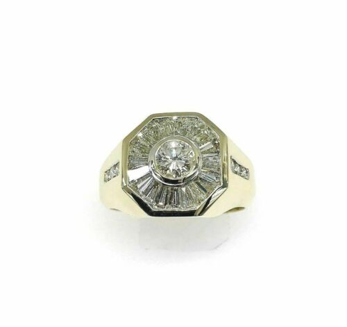 3.60 Carats Round and Baguette Diamond Signet Mens Ring 14K Yellow Gold 14 Grams