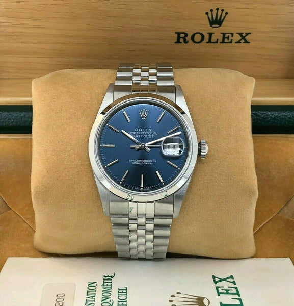 Rolex 36MM Datejust Watch Stainless Steel Ref #16200 Jubilee Band Box Papers