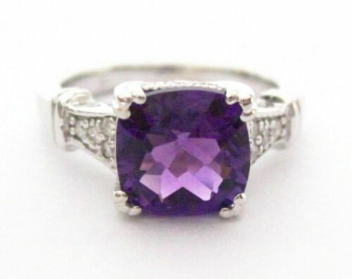 Fine Natural Cushion Amethyst & Diamond Solitaire Ring Size 6.5 14k W/G