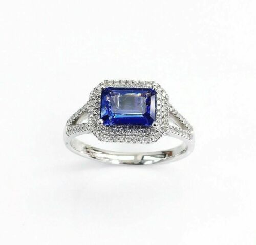 1.41 Carats t.w. Diamond and Tanzanite Double Halo Ring 14K Gold New