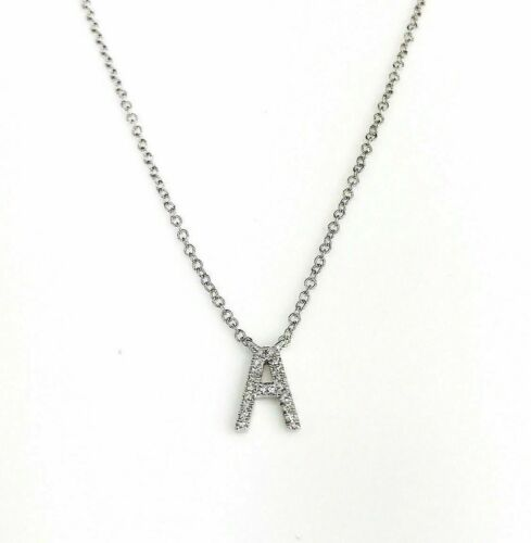 0.06 Carat New Custom Made Initial A Diamond Pendant w 14K Gold Adjustable Chain