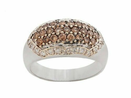 1.25Ct Fancy Brown Center & White Accents Cocktail/Anniversary Band Size 8.75