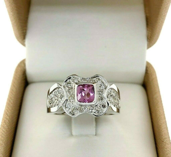 1.06 Carats t.w. Diamond and Pink Tourmaline Bezel Pave Celebration Ring 18K