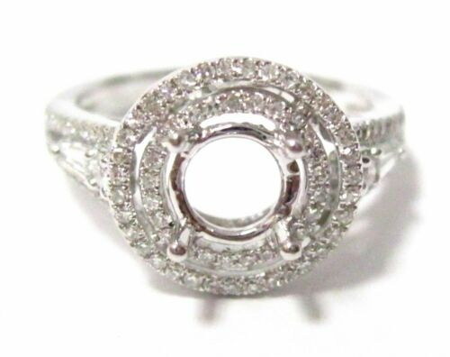 Fine 4 Prongs Semi-Mounting Round Brilliant Baguette Diamond Ring Engagement 1