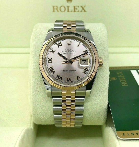 Rolex 36mm Datejust 18K Rose Gold Watch 18K Rose Gold Stainless Steel Ref 116231