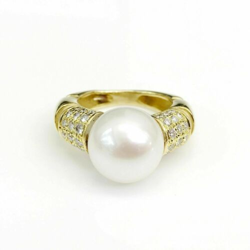 11 mm Round Pearl Ring with Diamond Accents in 18K Yellow Gold