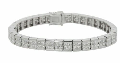 9.85 Carats Double Row Princess Cut Diamond Tennis Bracelet 18kt White Gold