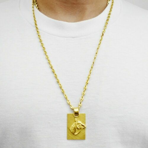 24K Yellow Gold Horse Pendant with Seperate Plaque Gucci-Style-Link Chain 28""
