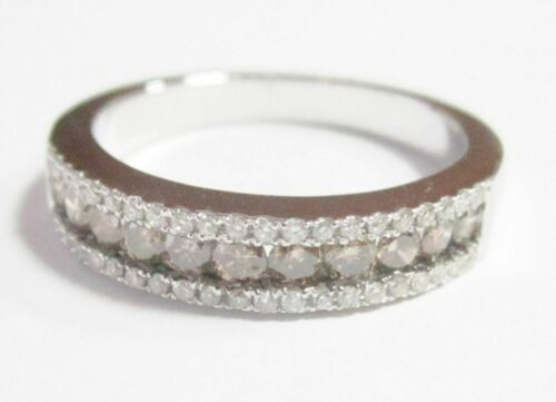 .82Ct Natural Fancy Intense Brown Diamond Half Eternity Ring Size 6.5 14k W-Gold