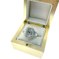 1.94 Carats Diamond Wedding Anniversary Ring Large Invisible Set Halo Center 18K