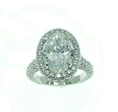 5.10 Carats t.w. E SI2 Oval Cut Diamond Custom Halo Engagement Ring Platinum