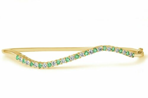 14k Yellow Gold Diamond and Emerald Round Cut Accent Bangle Bracelet