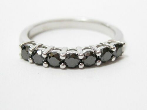 .70 TCW 7 Stone Natural Round Cut Black Diamond Anniversary Ring Size 6.5 14k WG