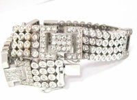 Fine 9.75 TCW 4 Rows Round Brilliant Mens Diamond Bracelet G-SI-1 14k White Gold