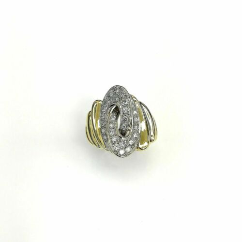 1.00 Carats Round Diamond Pave Set Diamond Anniversary Ring 18K Gold 15.9 Grams