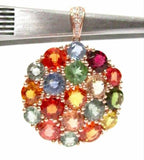 FINE 14kt Rose Gold Multi-Color Sapphire & Diamond Pendant