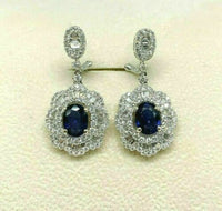 5.47 Carats t.w. Diamond and Blue Sapphire Dangle Chandelier Earrings 18K Gold