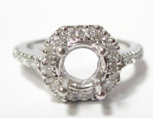 Fine 4 Prongs Semi-Mounting Round Diamond Ring Engagement 14k White Gold