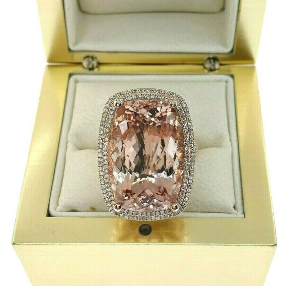 20.30 Carats Diamond and Long Cushion Morganite Halo Celebration Ring 14K Rose