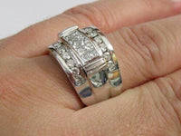 1.85 TCW Handmade Men's Rounds and Princess Cut Diamond Ring Size 12 14k W-Gold
