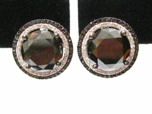 16.15 TCW Halo Round Black Diamond Stud Earrings Not Enhanced 18k White Gold