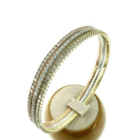 9.04 Carats t.w. Fine Jewelry Eternity Slip On Bangle Set 14K Tri Color Gold