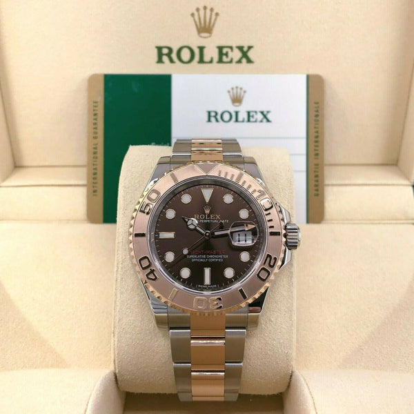 Rolex 40MM Mens Yacht-Master 18K Rose Gold and Steel Watch Ref #116621 Box Card
